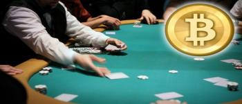 A game of blackjack with the bitcoin symbol